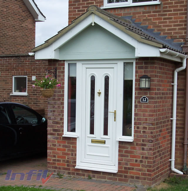Infil double glazing halstead essex porches canopies for Front door entrance patio