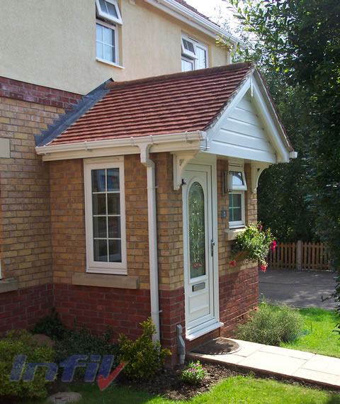 Infil double glazing halstead essex porches canopies for Porch designs for bungalows uk
